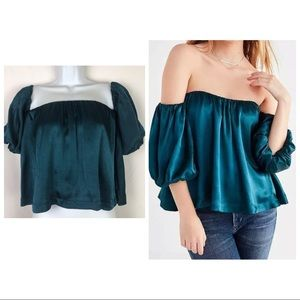 Urban Outfitters Teal Off Shoulder Satin Top